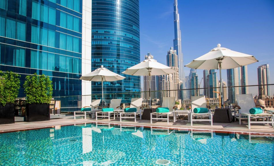 Steigenberger Hotel Business Bay, Dubai - Exterior view from swimming pool
